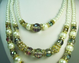HIGH LUSTER PEARL MULTI COLOR  NECKLACE   QT 284