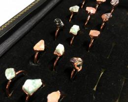 Garnet , Crystal , Aventurine Copper Rings 15 pcs BR 2298