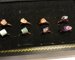Eight Raw   gemstones Ring  Size N  Copper Rings  BR 2320