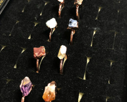 Eight Raw   gemstones Ring  Size L Copper Rings  BR 2334