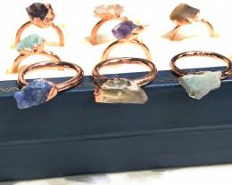 Eight Raw gemstones Ring SizeJ.5 Copper Rings BR 2414