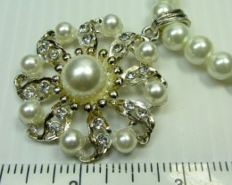FOCAL HIGH LUSTER PEARL NECKLACE N EARRINGS QT 288