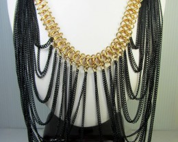 BLACK GOLD CHAIN FASHION  STYLE  NECKLACE   QT 302