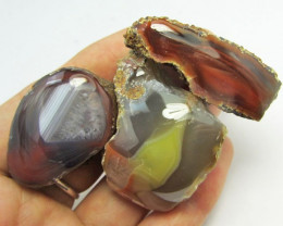 450 CTS THREE POLISHED AUSSIE AGATE SPECIMENES GG1261