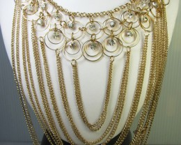 GOLD RING CHAIN FASHION  STYLE  NECKLACE    QT 303