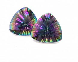 Pair Mystic Quartz Trillion Cut  Gemstones OMR395