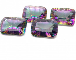 Four Mystic Quartz Cushion  Cut  Gemstone OMR 460