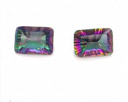 Pair Mystic Quartz Cushion  Cut  Gemstone OMR 466