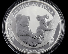 2011 AUSTRALIAN ONE OUNCE KOALA SILVER COIN-No Buyers Premium