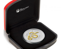 Lunar Series II 2013 Year of the Snake 1oz  99.9% Silver Gilded EdItion