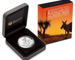 2010 Australian Kangaroo 1oz Silver Proof High Relief Coin