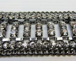 35 MM WIDE PEWTER SILVER DIAMOND BRACELET  QT 324