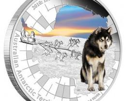 Australian Antarctic Territory Series 2010 Husky 99.9% Pure Silver