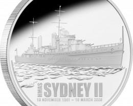 HMAS Sydney II 1oz 99.9 % Pure Silver Proof Coin