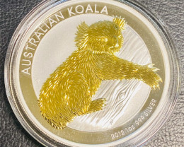 AUSTRALIAN KOALA 2012 1OZ GILDED COIN