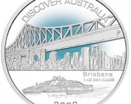 Discover Australia 2008 Brisbane 1oz Silver Coin