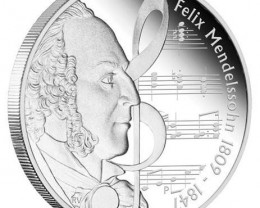 Great Composers - Mendelssohn 1809-1847 1oz 99.9% Pure  Silver Proof