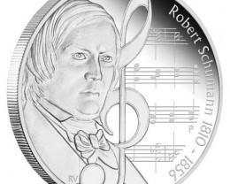 Composers 1oz  99.9% Pure Silver Proof Coin Robert Schumann 1810 -1856