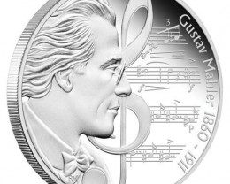 Great Composers 1oz 99.9% Pure  Silver Proof Gustav Mahler 1860 - 1911