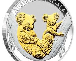 2011 Australian Koala .99 % pure Silver Coin Series 1oz Gilded Edition