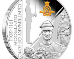 RMC Duntroon 1911 - 2011 Coin 1oz Silver Proof Coin an Badge
