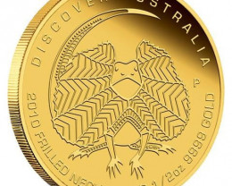 Discover Australia 2010 Frilled Neck Lizard,1/10oz Gold coin