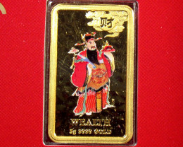 5 GRAMS GOLD CHINESE MYTHOLIGICAL CHARACTER WEALTH
