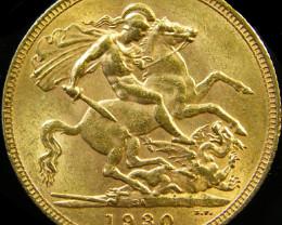 1930 M KING GEORGE V FULL GOLD SOVEREIGN 1930 CO 24