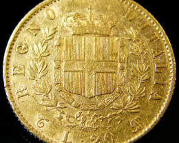 GOLD COIN ITALY 1865 20 LIRA CO 128