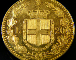 SCARCE ITALY 20 LIRE GOLD COIN 1879 UMBERTO 1st CO151
