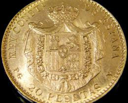 GOLD COIN SPAIN 20 PESETAS 1887 CO 143