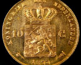 1877 DUTCH GOLD COIN NEDERLANDS 10 GUILDERS CO 153