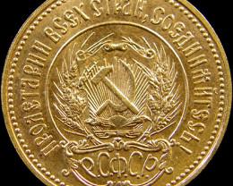 RUSSIAN 10 ROUBLES CHERVONETZ GOLD COIN 1980 CO 15