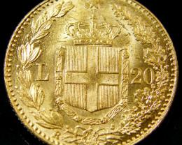 GOLD COIN ITALY 20 LIRA 1882 CO134