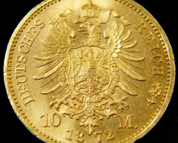 GERMANY PRUSSIA 10 MARK GOLD COIN 1872 CO 135
