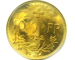 1922 SWITZERLAND 10 FRANCS GOLD COIN CO342