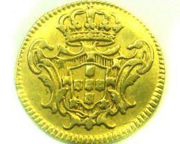 RARE 1729 PORTUGAL 1/2 ESCUDO JOHN V GOLD COIN CO336