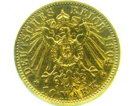 1904 PRUSSIA 10 MARK WILHELM 11 GOLD COIN CO338