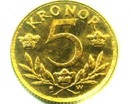 1920 SWEDEN 5 KRONER GUSTAV V GOLD COIN CO345