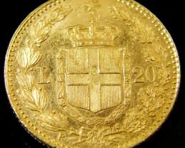 GOLD COIN ITALY 20 LIRA 1882 CO 132