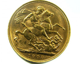 1908 UNCIRCULATED EDWARD SOVEREIGN B.P CO 463