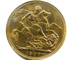 1907 UNCIRCULATED EDWARD SOVEREIGN B.P CO 461
