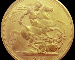 1957 Full Gold Sovereign Queen Elizabeth II CO2343