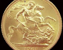 1963 Full Gold Sovereign Queen Elizabeth II CO2344