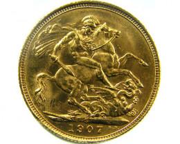 1907 UN CIRCULATED EDWARD SOVEREIGN B.P CO 462