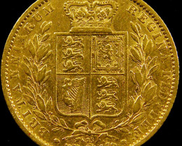 1864 SHIELD GOLD VICTORIA SOVEREIGN CO 605