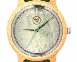 Green Silicone Strap Treasures Eco Friendly Bamboo watch WO 77