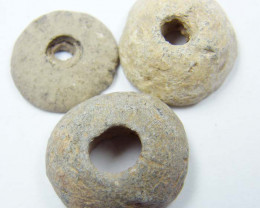 ANCIENT ROMAN ARTIFACT BRONE WASHER BEADS OPAC1728