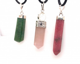 Three Nautural Terminated Gemstone Pendants Br 2460