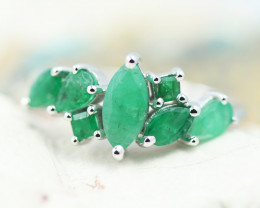Earthy 10K White Gold Emerald Ring size R - RE 12424